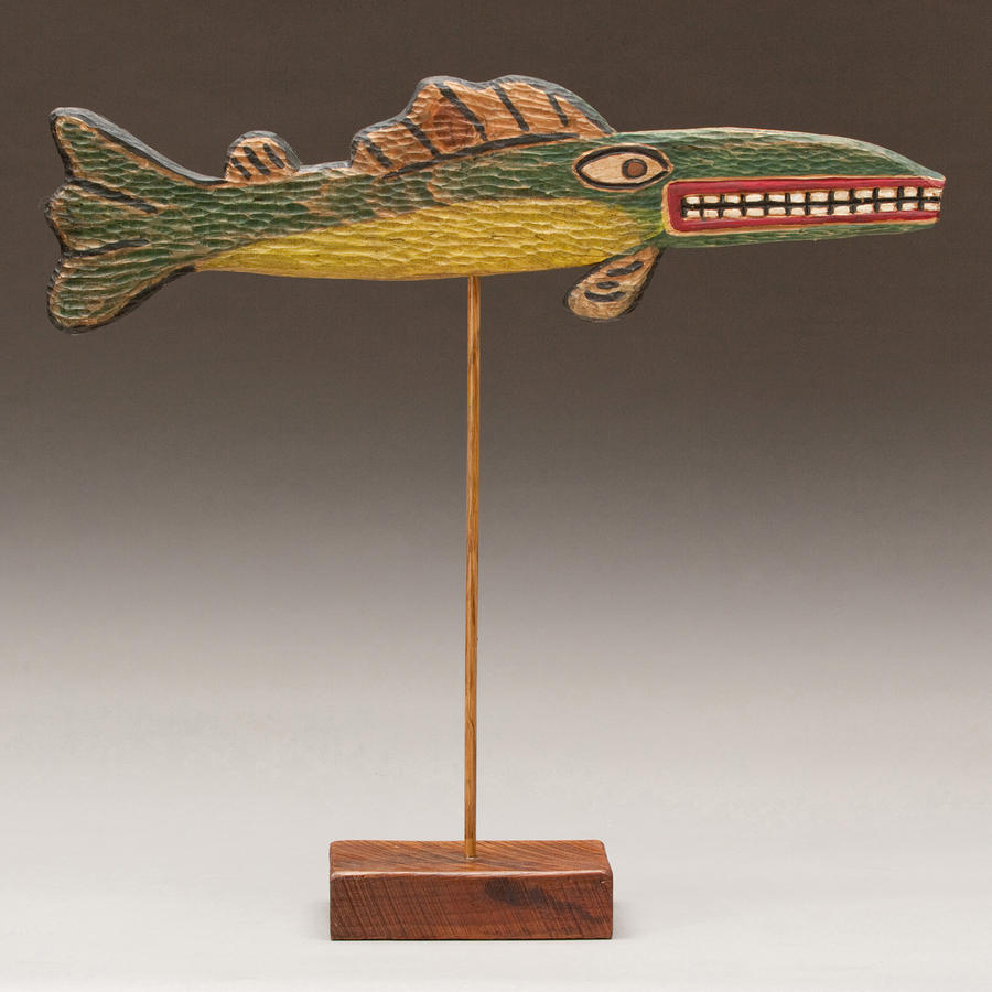 Folk Art Fish Sculpture  - Folk Art Fish Fine Art Print
