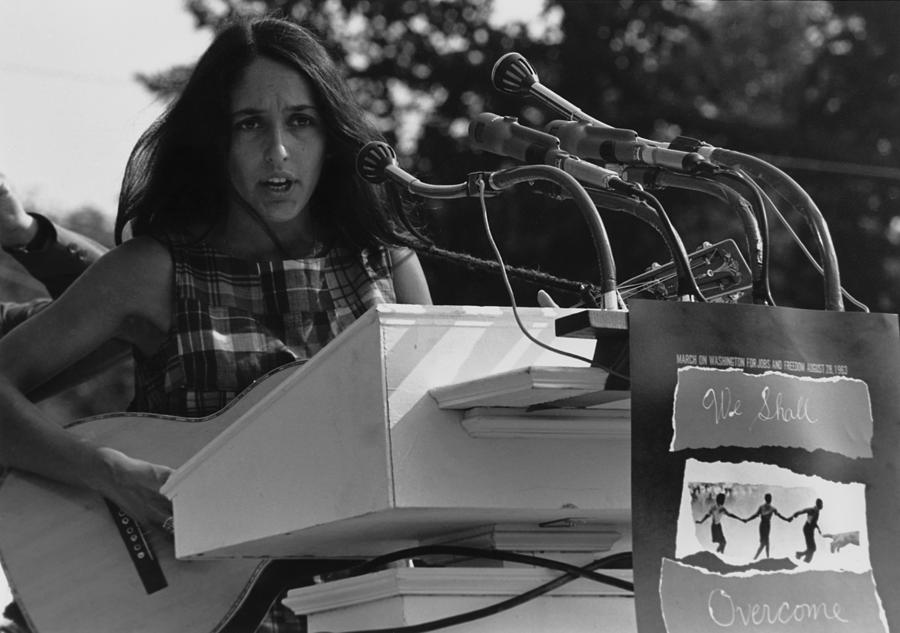Folk Singer Joan Baez Singing Photograph