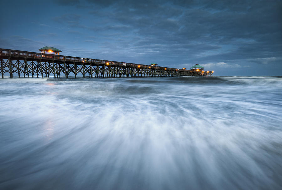 Folly Beach Blues - Folly Beach Pier Charleston Sc Photograph  - Folly Beach Blues - Folly Beach Pier Charleston Sc Fine Art Print