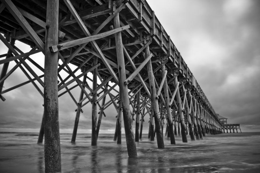 Folly Beach Pier Black And White Photograph