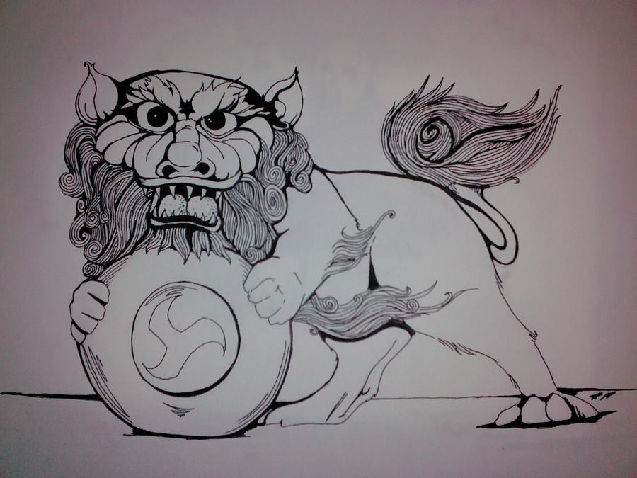Foo Lion Drawing  - Foo Lion Fine Art Print