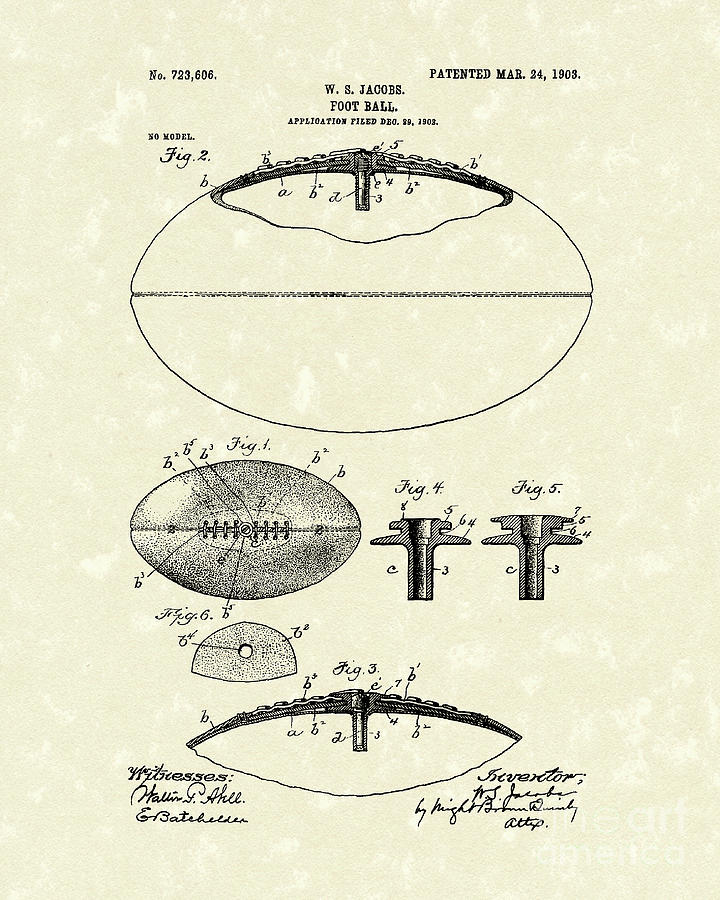 Football 1903 Jacobs Patent Art Drawing  - Football 1903 Jacobs Patent Art Fine Art Print