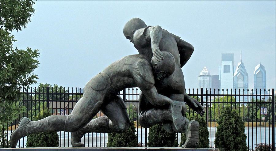 Football Statue Citizens Bank Park City View Philadelphia Photograph - Football At Citizens Bank Park by Alice Gipson