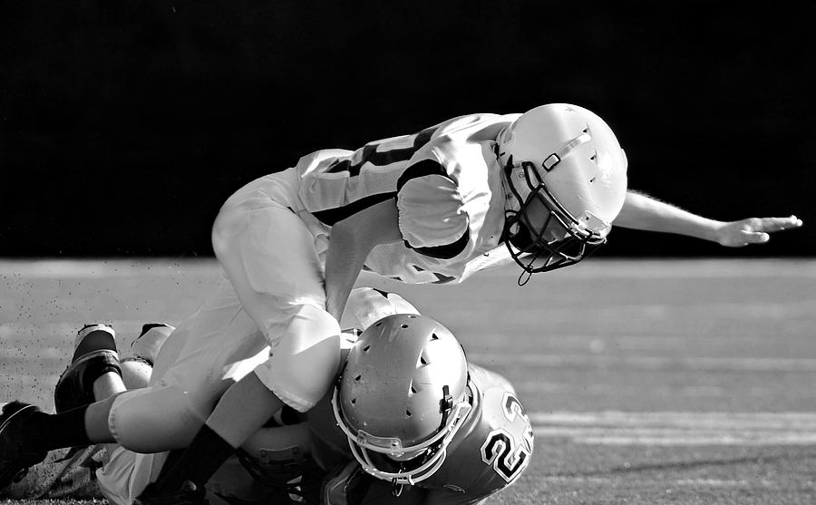 Football In Black And White Photograph