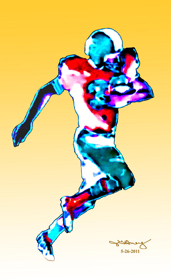 Football Runner Jgibney 5-26-2011 Digital Art  - Football Runner Jgibney 5-26-2011 Fine Art Print