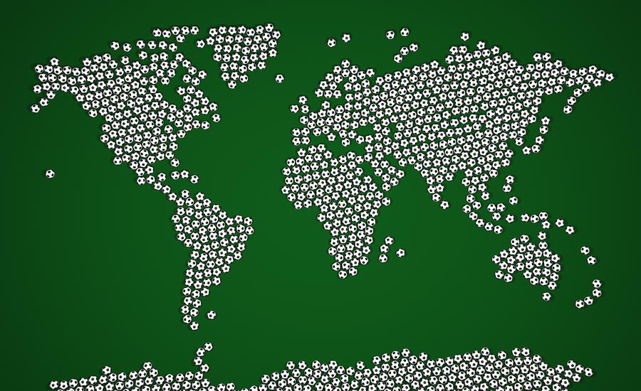 Football Soccer Balls World Map Digital Art