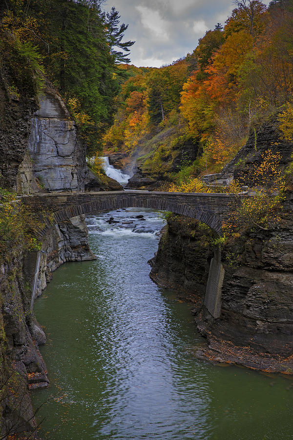 Footbridge At Lower Falls Photograph  - Footbridge At Lower Falls Fine Art Print