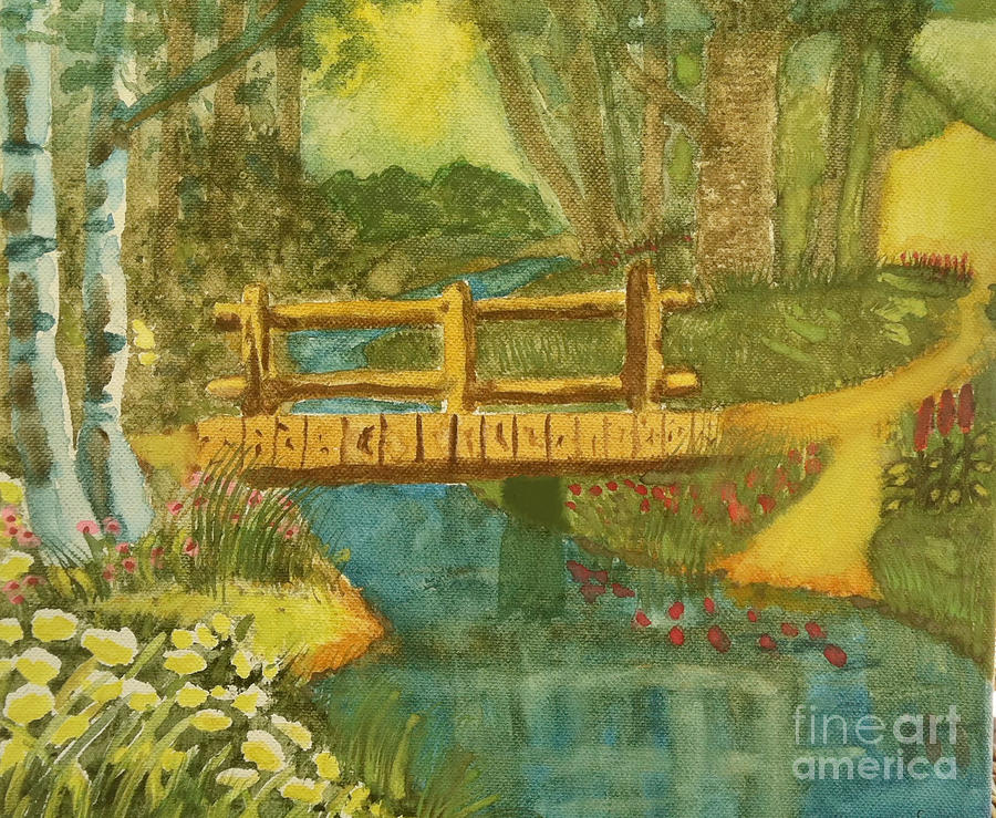 Footbridge In The Woods Painting  - Footbridge In The Woods Fine Art Print