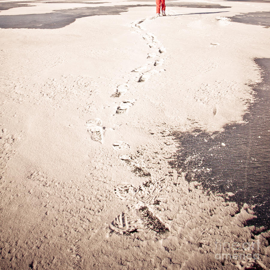 Snow Photograph - Footprints In The Snow by Christina Klausen
