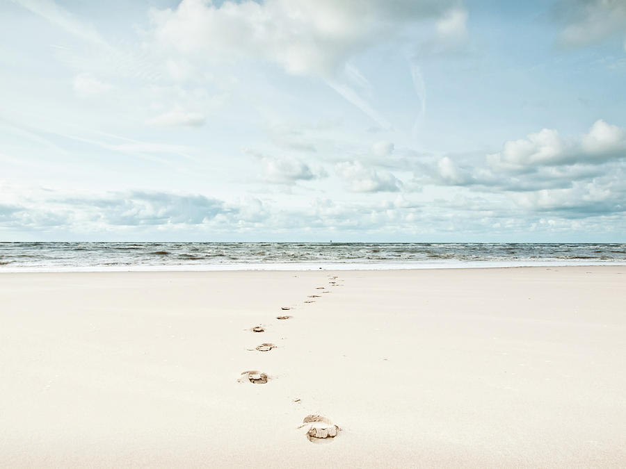 Footprints Leading Into Sea Photograph  - Footprints Leading Into Sea Fine Art Print