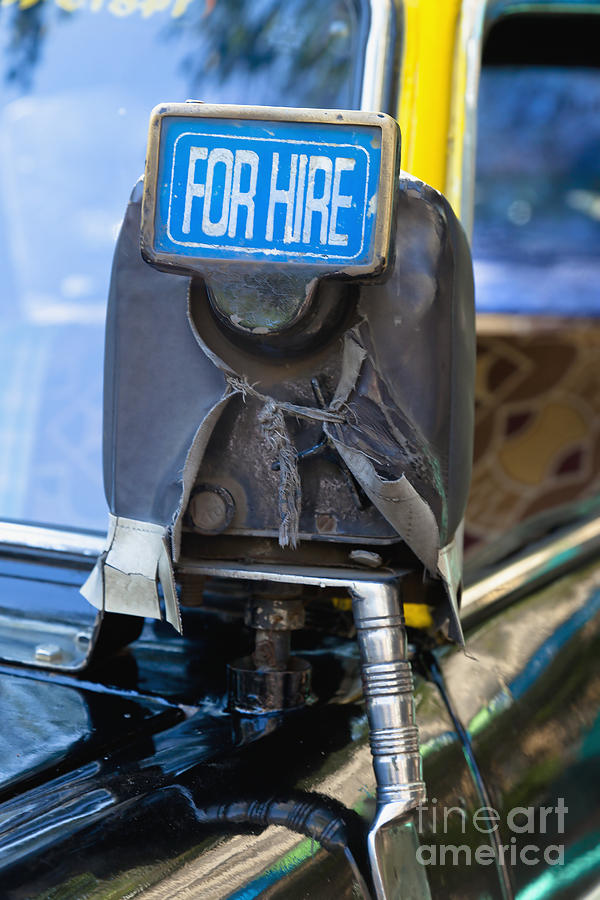 For Hire Sign On Taxi Photograph  - For Hire Sign On Taxi Fine Art Print