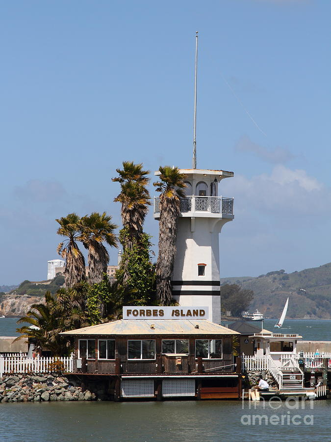 Forbes Island Restaurant With Alcatraz Island In The Background . San Francisco California . 7d14257 Photograph  - Forbes Island Restaurant With Alcatraz Island In The Background . San Francisco California . 7d14257 Fine Art Print