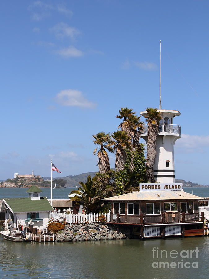 San Francisco Photograph - Forbes Island Restaurant With Alcatraz Island In The Background . San Francisco California . 7d14263 by Wingsdomain Art and Photography