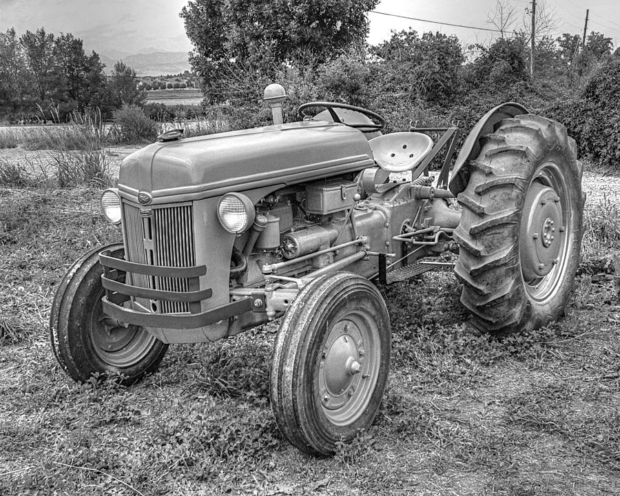 Ford Farm Tractor Black And White by Ken Smith