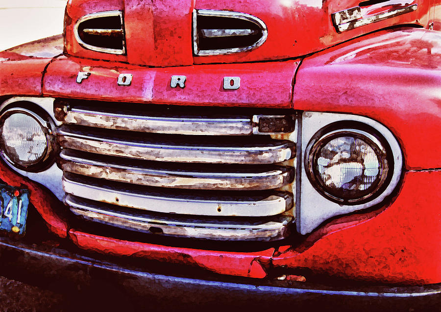 Ford Grille Digital Art  - Ford Grille Fine Art Print