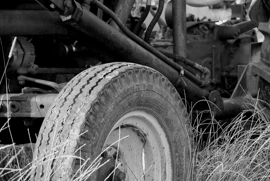 Ford Tractor Details In Black And White Photograph