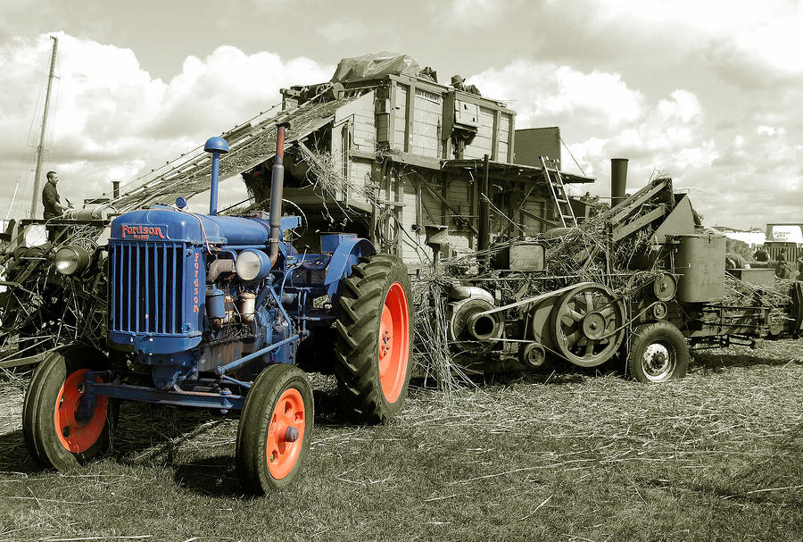 Fordson And The Threshing Machine Photograph  - Fordson And The Threshing Machine Fine Art Print