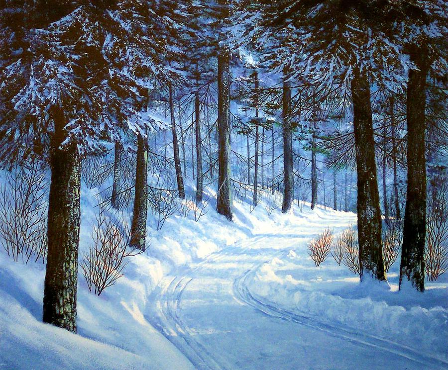 Forest Road Painting  - Forest Road Fine Art Print