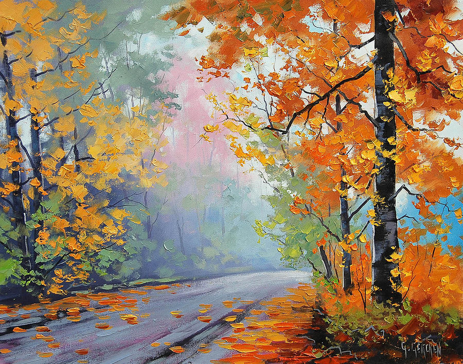 Forest Road Painting