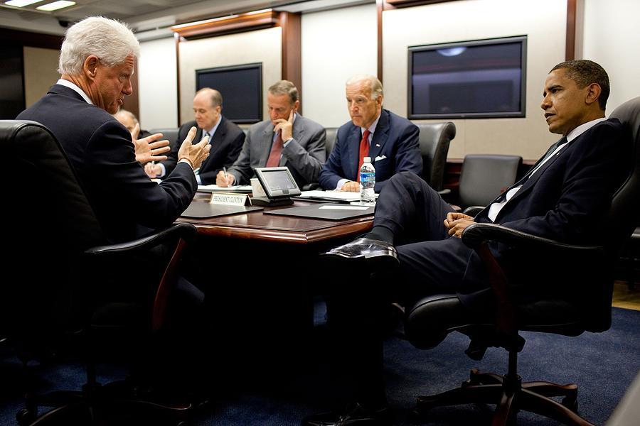 Former President Clinton Briefs Photograph