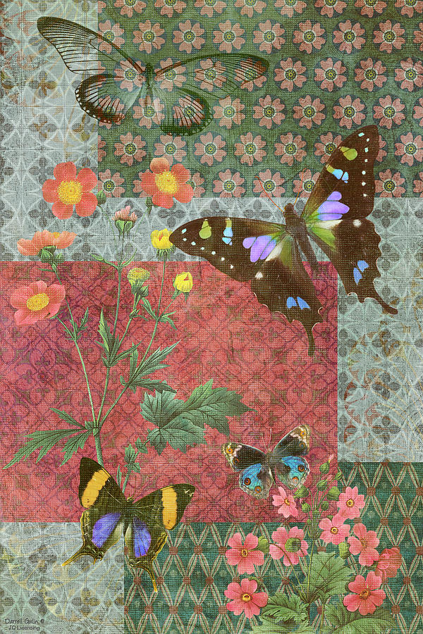 Four Butterfly Patch Green Painting