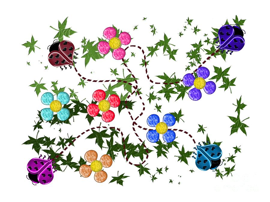 Four Lady Heart Bugs Digital Art