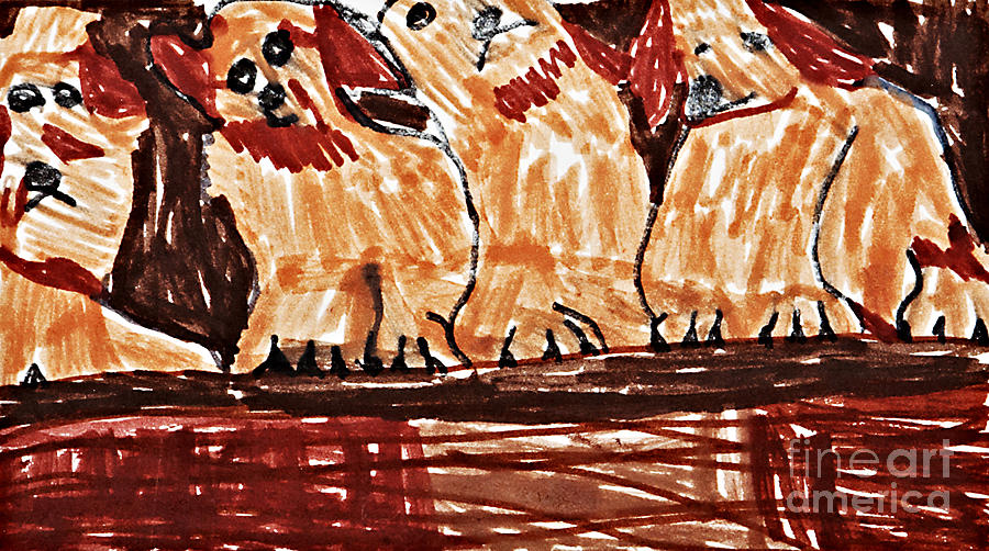 Four Puppies In A Row Drawing  - Four Puppies In A Row Fine Art Print