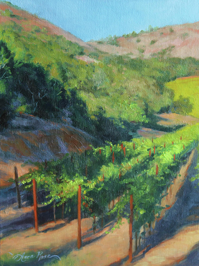 Four Rows Napa Valley Painting  - Four Rows Napa Valley Fine Art Print
