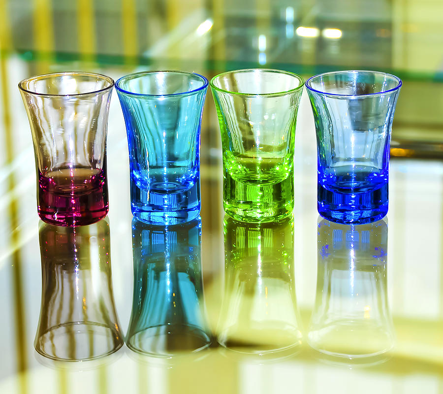 Four Vodka Glasses Photograph  - Four Vodka Glasses Fine Art Print