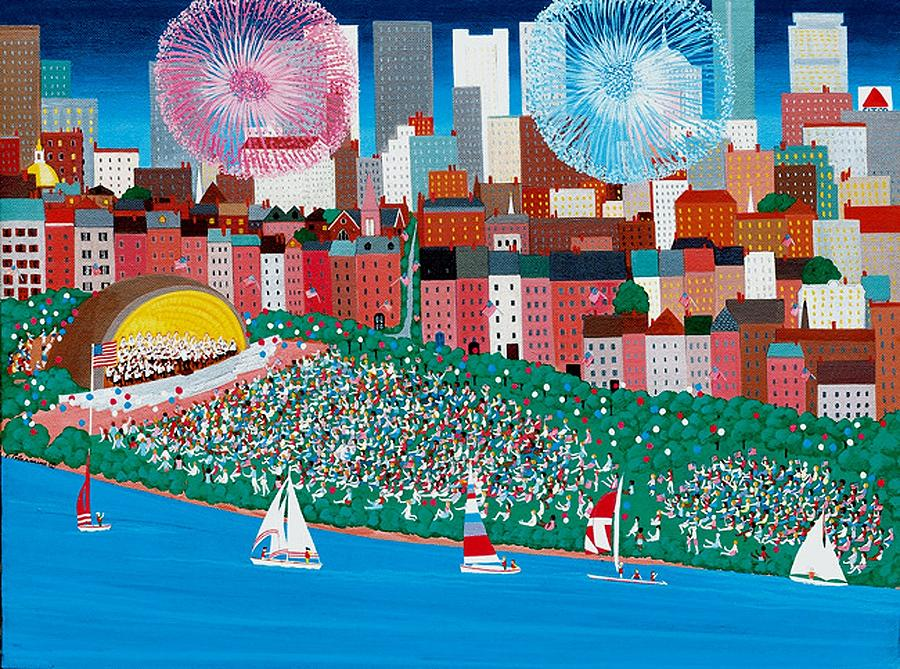Celebrations Painting - Fourth Of July At The Hatch Shell by Patricia Palermino