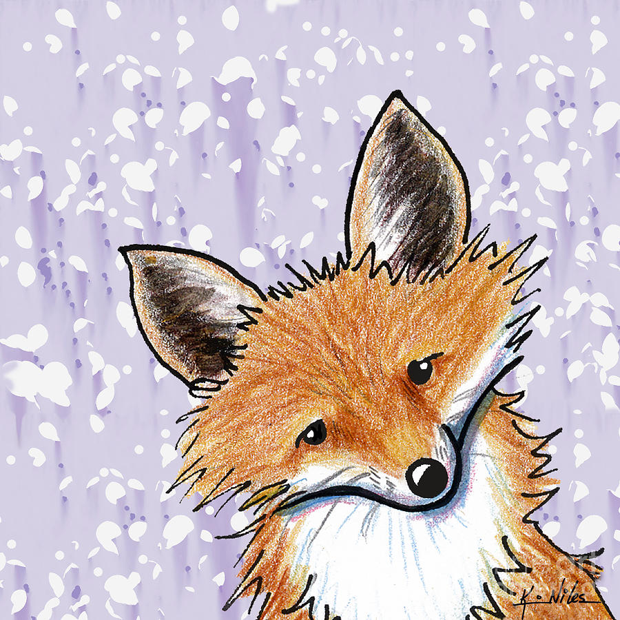 Fox On Lavender Drawing  - Fox On Lavender Fine Art Print