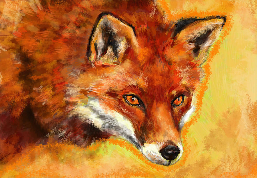 Fox Spirit - Kitsune Mixed Media  - Fox Spirit - Kitsune Fine Art Print