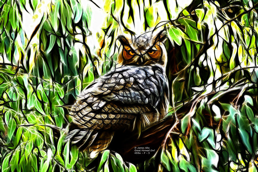 Fractal-s -great Horned Owl - 4336 Digital Art by James Ahn