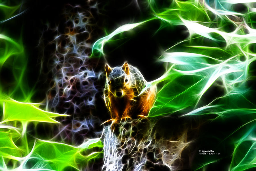 Fractal - Sitting On A Stump - Robbie The Squirrel - 2831 Digital Art