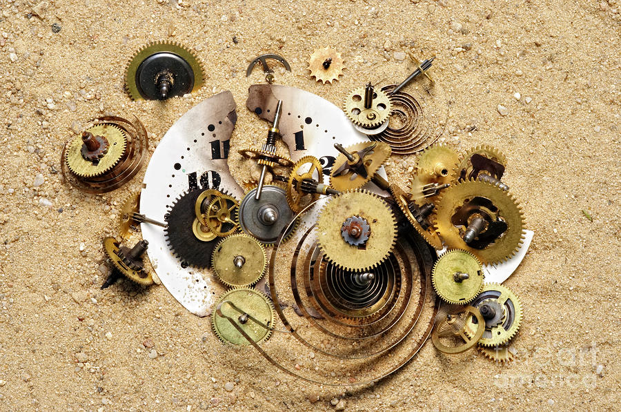 Fragmented Clockwork In The Sand Photograph