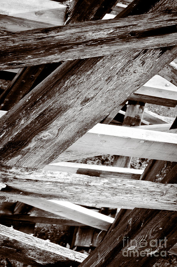 Framework Kinsol Trestle Wooden Frame In Abstract Black And White Photograph  - Framework Kinsol Trestle Wooden Frame In Abstract Black And White Fine Art Print