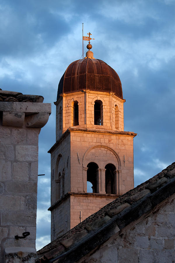 Franciscan Monastery Tower At Sunset Photograph