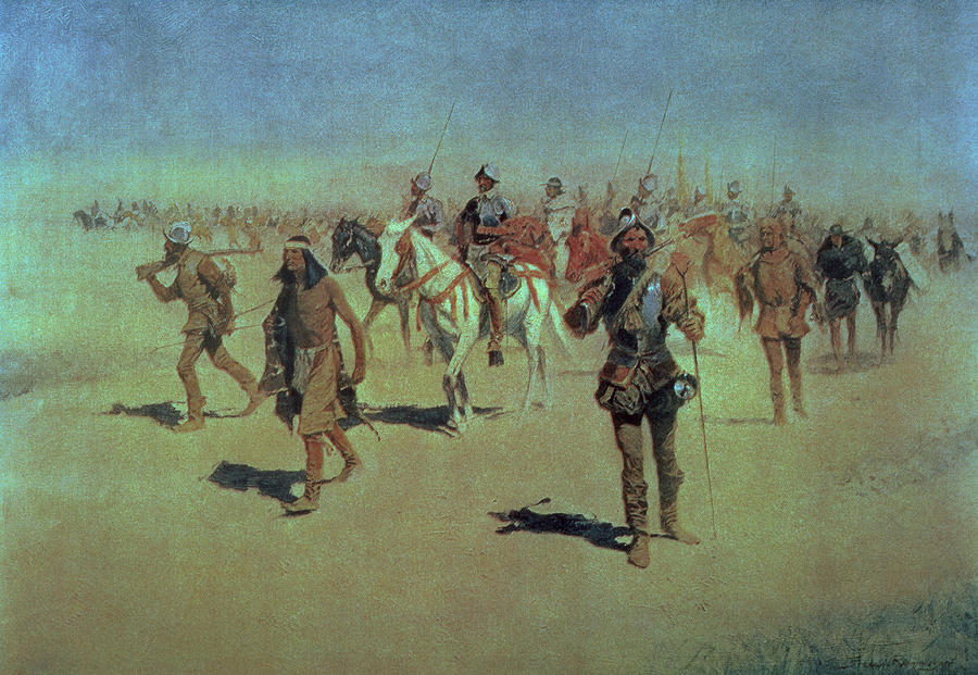 Francisco Vasquez De Coronado Making His Way Across New Mexico Painting  - Francisco Vasquez De Coronado Making His Way Across New Mexico Fine Art Print
