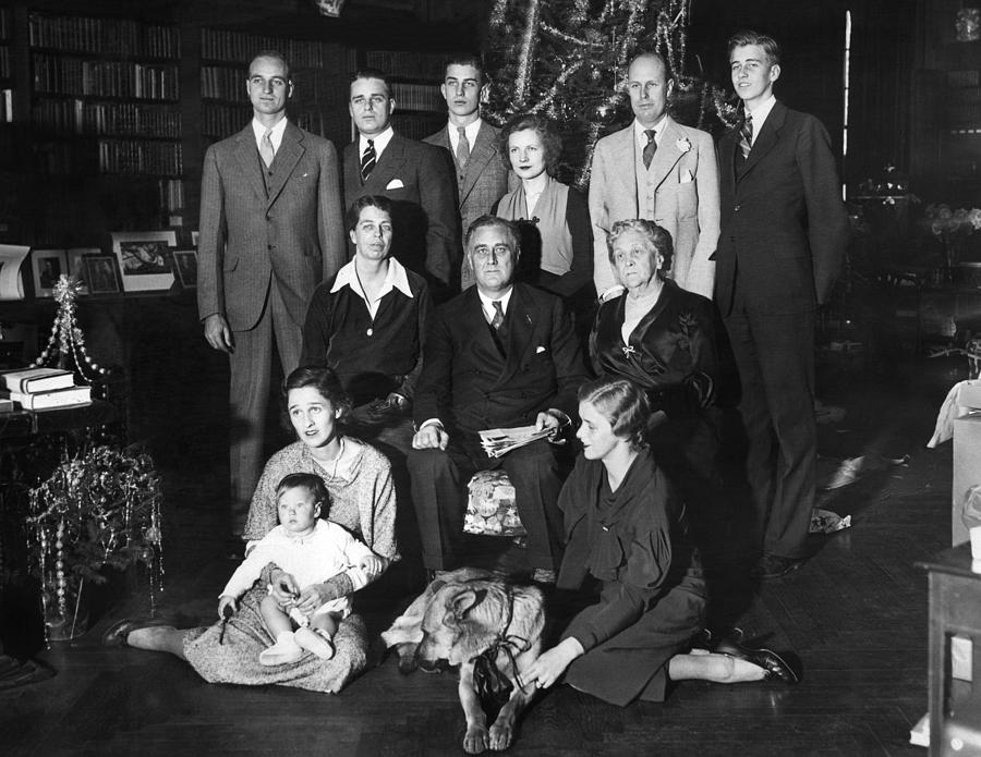 Franklin Roosevelt Family On Christmas Photograph