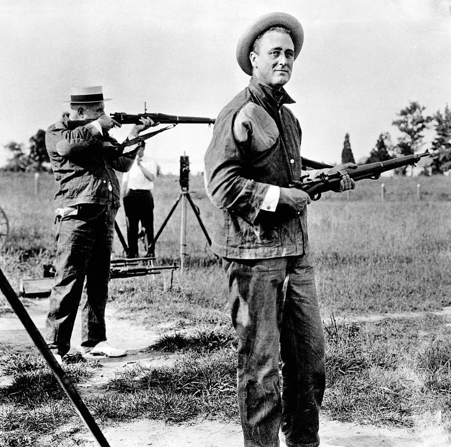 Franklin Roosevelt On A Rifle Range Photograph