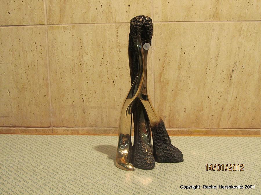 Freestanding  Legwork  Bronze  Sculpture Sculpture - Freestanding Legwork Bronze Sculpture With Brass And Opaque Surfaces  by Rachel Hershkovitz