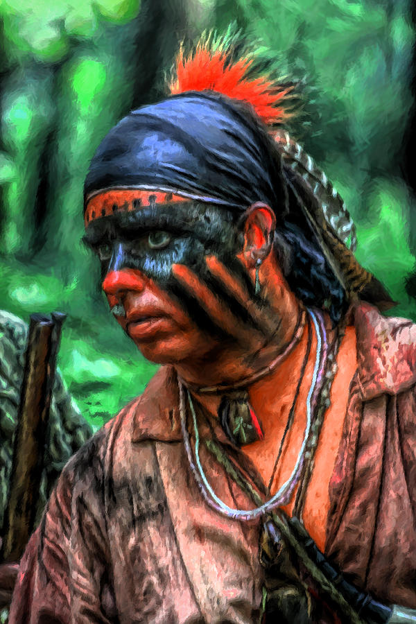 French And Indian War Indian Warrior Digital Art
