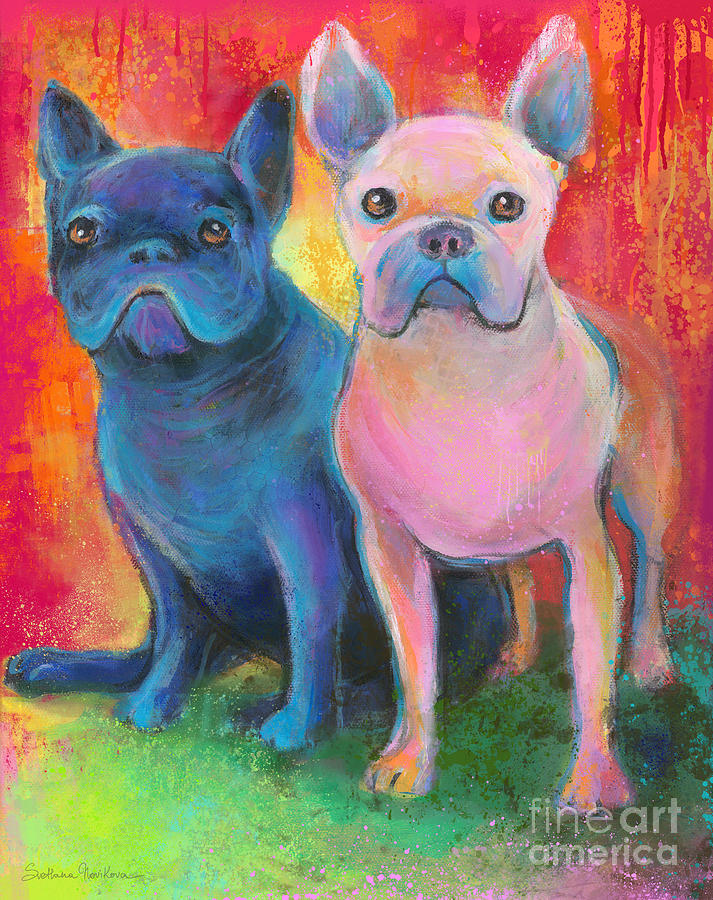 French Bulldog Dogs White And Black Painting Painting  - French Bulldog Dogs White And Black Painting Fine Art Print