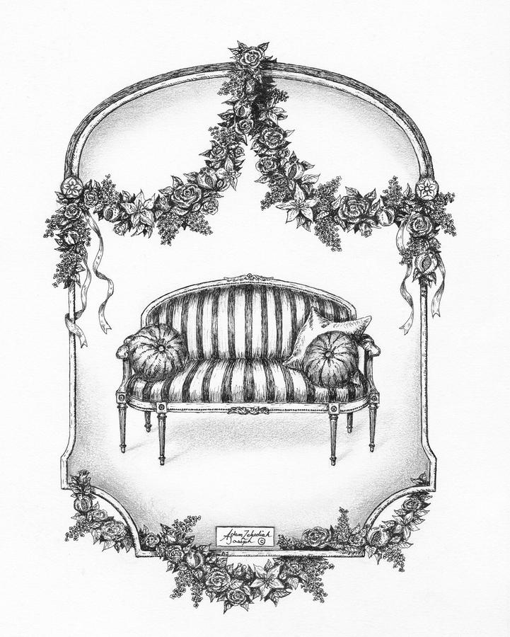 French Country Sofa Drawing