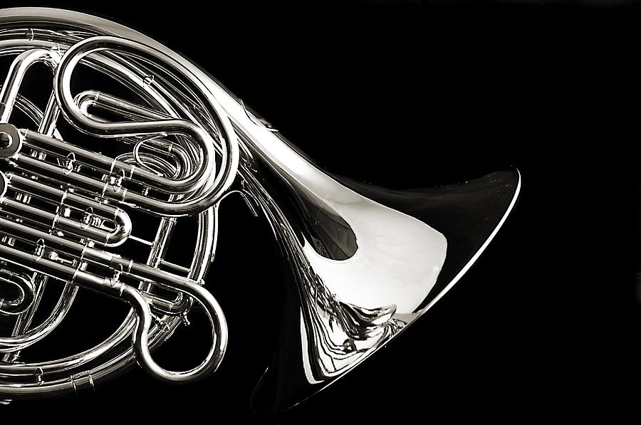 French Horn Isolated On Back Photograph  - French Horn Isolated On Back Fine Art Print