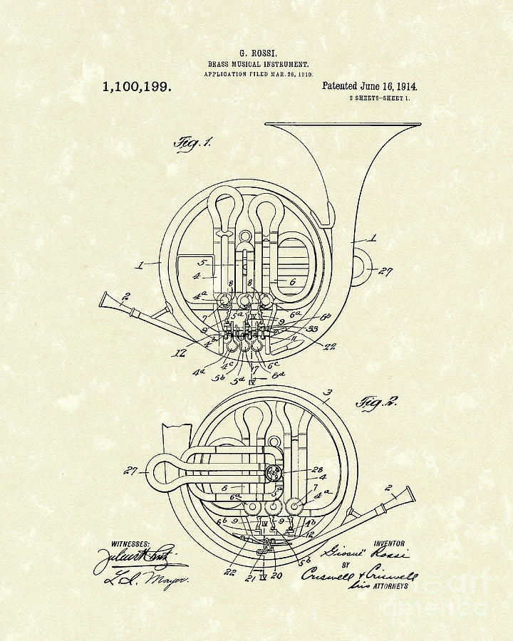 French Horn Musical Instrument 1914 Patent Drawing  - French Horn Musical Instrument 1914 Patent Fine Art Print