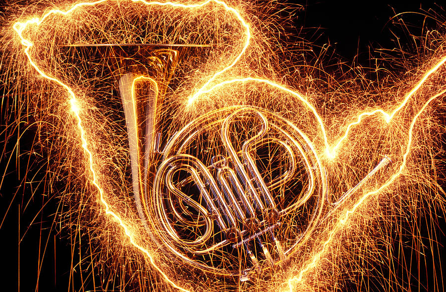 French Horn Outlined With Sparks Photograph  - French Horn Outlined With Sparks Fine Art Print