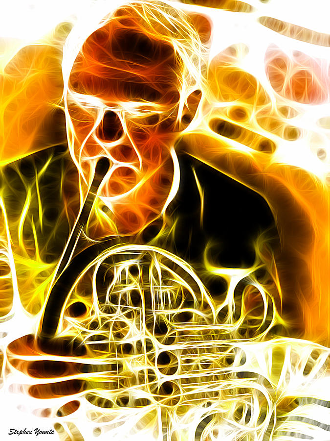 French Horn Digital Art  - French Horn Fine Art Print