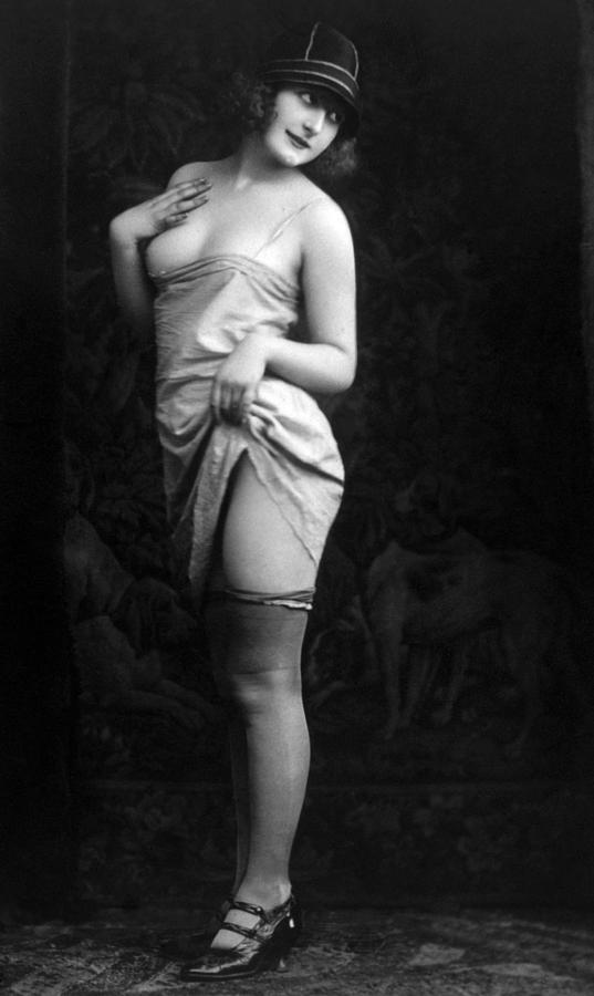 French Lingerie Model, Circa 1920 Photograph  - French Lingerie Model, Circa 1920 Fine Art Print