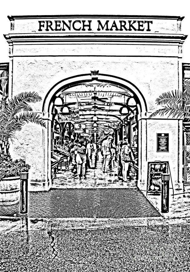 French Quarter French Market Entrance New Orleans Photocopy Digital Art Digital Art  - French Quarter French Market Entrance New Orleans Photocopy Digital Art Fine Art Print
